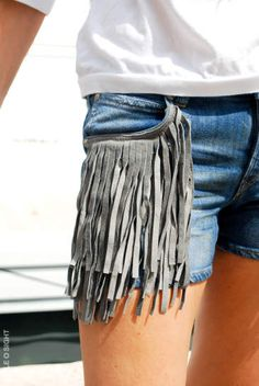 Best way to update old denim shorts - get crafty! DIY fringing - perfect for festivals and tribal trend this summer.