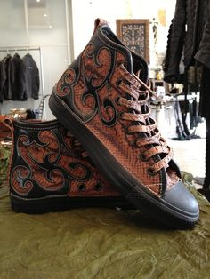 Custom Converse shoes Leather and snake by Logan Riese