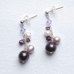 Pink, Lilac & Purple Cluster Earrings