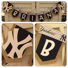 New York Yankees Baby Shower Baby Shower Parties, Baby Shower Themes, Baby Boy Shower, Baby Shower Decorations, Shower Ideas, Yankees Nursery, Yankees Baby, Ny Yankees, Baseball Birthday Party
