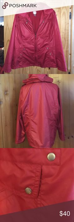 """SALE!! Chicos Zip-up Jacket Zynergy w/hood This Chicos Zynergy zip up jacket is a size 3. It is 100% polyester. It has a polyester lining. On the front it has one zip pocket on the right top.  The other two pockets on the top are not real and the lower front has two pockets. The hood zips up into the collar in the back. It is very very gently used maybe 3 or 4 times. It is 26 inches from the back collar to the bottom. The sleeves are 23-3/4"""". That includes the fake cuff. The second and third…"""