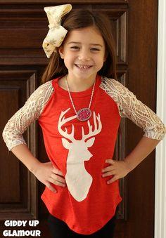 Kids Oh, Deer Glitter Antler Red Baseball Tee with Gold Glitter Crochet Sleeves www.gugonline.com $22.95