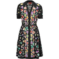 Missoni - Belted Printed Silk Dress ($940) ❤ liked on Polyvore featuring dresses, black, missoni, leather belt, crochet dress, belted dress and colorful dresses