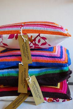 Crocheted Cushions- sew them onto fabric to give more strength.