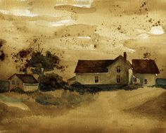 The Farm House Watercolor and Coffee Painting  8X10 by meganballi, $18.00