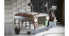 This vintage Jeep Desk is perfect for the motor man or women. The desk constructed from repurposed Jeep parts and is a showcase in up-cycling. This desk is perfectly suited for the home office. The sturdy cast iron structure has two inbuilt draws and i Car Part Furniture, Ikea Furniture, Plywood Furniture, Repurposed Furniture, Rustic Furniture, Furniture Design, Furniture Websites, Furniture Stores, Luxury Furniture