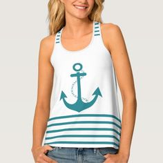 Trendy Stripes Turquoise White with Anchor