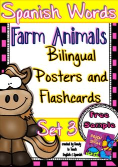 """Spanish Words - Posters and Flashcards - (Farm Animals/ Bilingual) - Set 3 FREE from Ready to Teach English and Spanish on TeachersNotebook.com -  (19 pages)  - """"Spanish Words"""" is a set of Spanish vocabulary sheets related to a particular topic or holiday. It is an engaging and motivational resource for the Spanish classroom. Posters and Flashcards!"""