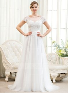 A-Line/Princess Scoop Neck Sweep Train Tulle Charmeuse Lace Wedding Dress With Beading Sequins (002052783)
