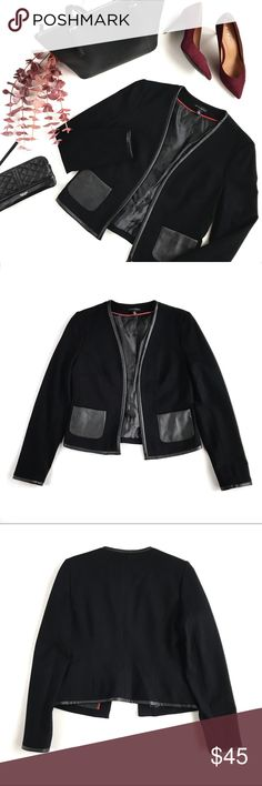 """Willi Smith Executive Leather-Trim Open Blazer, S This is not your basic black blazer - with a sleek cut open fit, faux leather trim and pockets, and silky soft lining, the Executive blazer will have you feeling like a total boss. Size S, fits true to sizes 4-6, measures approx 15.5"""" across shoulders, 17.5"""" across chest, and 21"""" long. Brand new, never worn, NWOT. Please feel free to make an offer, bundle for greater discount, or ask any questions! :) Willi Smith Jackets & Coats Blazers"""