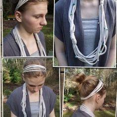 T-shirt headband. T-shirt necklace. my-diy-crafts Shirt Refashion, T Shirt Diy, Shirt Tucked In, Order T Shirts, Personalized T Shirts, Casual Elegance, Diy Clothes, Diy Fashion, Hair Bows