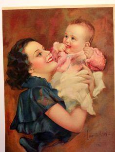 Vintage Calendar Art Print Mother Child 1935 by PhotoTreasureChest