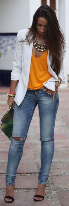 Street style | Denim, strapped sandals, orange tank top, white blazer, statement necklace