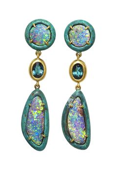 BRONZE COLLECTION ~ Bronze Earrings with Boulder opals and green tourmalines, set in yellow gold and bronze #AustraliaOpal