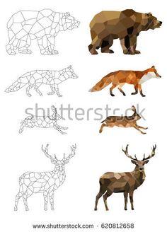 Картинки по запросу polygonal animals
