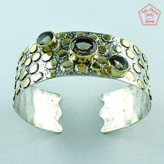 Attractive Design 925 Sterling Silver Smoky Quartz Stone Bangle Jewelry P3342…