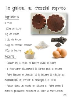 La maternelle de Laurène: Gâteau chocolat express micro-ondes Microwave Chocolate Cakes, Cake Chocolate, Healthy Toddler Breakfast, Cookie Recipes, Snack Recipes, Delicious Desserts, Yummy Food, Mexican Dessert Recipes, Tumblr Food