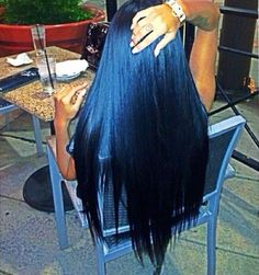 Gorgeous long blue black hair goodness