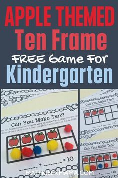 Get ready for fall with this cute set of apple-themed ten frame games! Help kids practice making ten, writing number sentences and more. #math #kindergartenmath #10frames #freemathworksheet #backtoschool Easy Math Games, Fun Math, Math Math, Kindergarten Activities, Kindergarten Classroom, Classroom Activities, Printable Math Worksheets, Free Printables, Making Ten