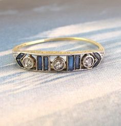 Deco Dots and Dashes Diamond and Sapphire Band, $1,000.00