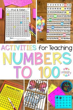 Math strategies and activities for teaching numbers to 100 in Kindergarten, first, and second grade. An extensive list of number activities and resources are included: books, materials, math manipulatives, ideas for the 100th day of school, and a number train FREE activity! #firstgrade #kindergartenmath #firstgrademath #kindergarten #numbers #numbersto100 #100daysofschool