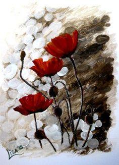 Original acuarela amapola la pintura por ArtonlineGallery en Etsy