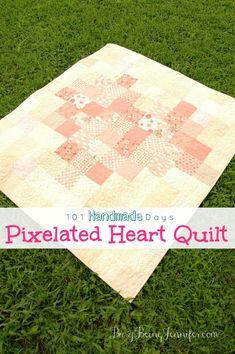 Pixelated Heart Quilt - BusyBeingJennifer.com #101HandmadeDays