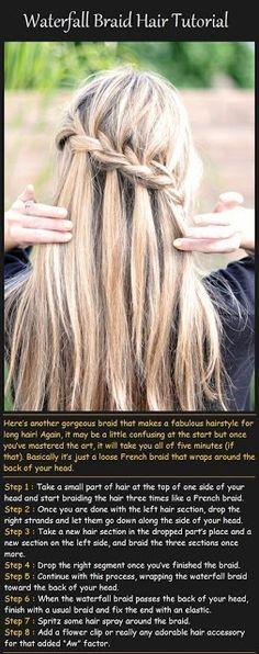 Waterfall Braid Hair Tutorial