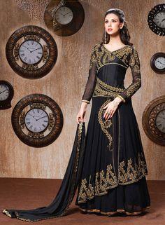 #Stylish Black #Long #Salwar Kameez