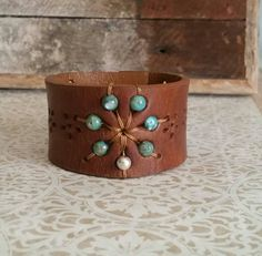 Turquoise Flower- beaded leather cuff bracelet