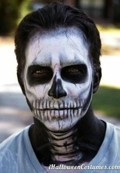 Full Face neck skeleton makeup male #makeupideasfullface