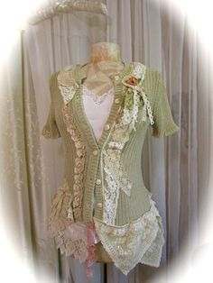 Hey, I found this really awesome Etsy listing at https://www.etsy.com/listing/113171029/taupe-lace-sweater-shabby-romantic