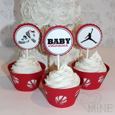 Jordan Jumpman Inspired Baby Shower Cupcake By LovinglyMine, $12.00