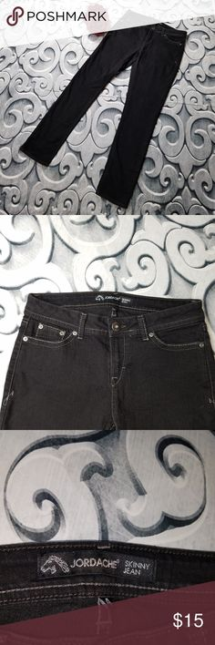"Jordache Black Skinny Jeans Jordache Black Skinny Jeans Size 4  Measurements: Waist: 30"" Rise: 8.5"" Inseam: 30""  Flower not included  Inventory Number:  171 Jordache Jeans Skinny"