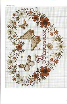 <3 Cross-stitch Floral Wreath & Butterflies ... no color chart available, just use the pattern chart as your color guide.. or choose your own colors