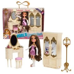 MGA Entertainment Bratz World Passion for Individuality Series 10 Inch Doll Furniture Playset - YASMIN'S HOUSE with Yasmin Doll in Night Gown, Lamp, Vanity Drawer with Mirror, Stool, Cloth Cabinet with Mirror and Lots of Cool Make-Up Accessories Bratz