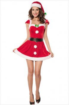 Christmas costume ( red sexy short-sleeved dress )