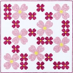 Dogwood flowers modern appliqué quilt pattern by Flying Parrot Quilts