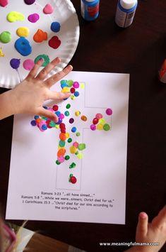Cross Fingerprint Craft - AWANA Cubbies Bear Hug #18