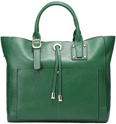 (LeatherHandbagART.com) It's our pleasure to present you with this tote bag ZLJY460, which is made of guaranteed genuine cowhide (the best top layer leather), green, with a decoration tassel in the front. Simple style, simple life!