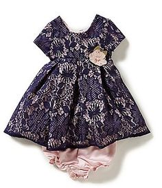 Laura Ashley London Baby Girls 12-24 Months Floral-Lace-Overlay Dress