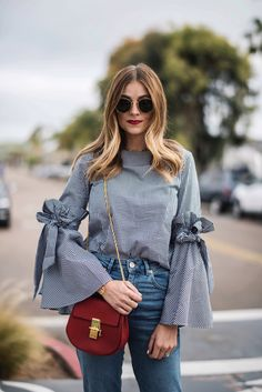 Best 12 Gingham top and bell sleeves Modern Hijab Fashion, Trendy Fashion, New Fashion Tops, Ladies Fashion Tops, Stylish Dress Designs, Stylish Dresses, Teen Fashion Outfits, Casual Outfits, Skirt Fashion