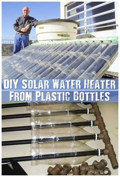 DIY Solar Water Heater From Plastic Bottles - Make a solar water heater from a pile of plastic bottles and cartons. This is great for the environment as it frees up waste trash and if you decide to build one you could use old bottles or what ever you have Solar Energy Panels, Best Solar Panels, Solar Energy System, Solar Power, Wind Power, Solaire Diy, Alternative Energie, Diy Heater, Diy Solar Water Heater