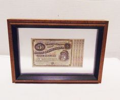 Framed 1879 State of Louisiana $5 BABY BOND #1879 #Bond #Antique