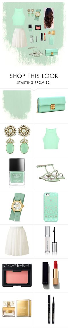 """""""Mint green"""" by cecebrown0204 ❤ liked on Polyvore featuring Dasein, Ciner, Butter London, Valentino, Michele, Casetify, Uniqlo, Givenchy, NARS Cosmetics and Chanel"""
