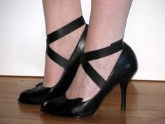 SPATS Black Leather Wrap Mini Spats - RECYCLED Shoe Accessories. $18.00, via Etsy.