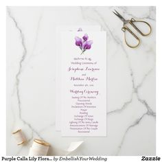 Shop Purple Calla Lily Floral Wedding Ceremony Programs created by EmbellishYourWedding. Purple Calla Lilies, Calla Lily Flowers, Wedding Ceremony Seating, Unique Wedding Programs, Watercolor Wedding, Floral Wedding, Paper Texture, Place Card Holders