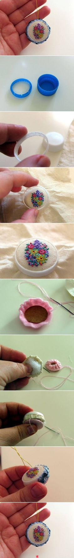 embroidery stitching using a soda pop soft drink bottle lid, cute pretty floral design, could be used as ornaments or jewelry