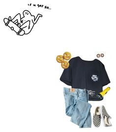 """just chillin"" by freezeyourbrains ❤ liked on Polyvore featuring NIKE, Dickies and Vans"