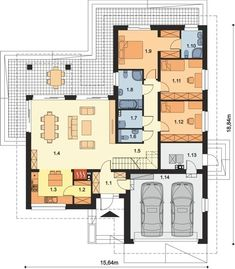 DOM.PL™ - Projekt domu ARP PADME CE - DOM AP2-07 - gotowy koszt budowy House Plans Mansion, Dream House Plans, Modern House Plans, House Floor Plans, Circle House, Garage Double, Three Bedroom House Plan, Architectural House Plans, Compact House